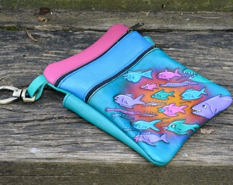 """Handmade Custom Leather Pouch, Blue Rainbow,School of Fish Embossed 7 x 9"""" - Zipper Tote Adjustable Strap / 2 compartments, with back pocket"""