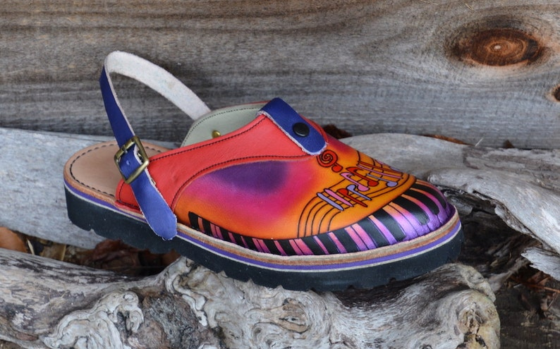 a2908662dd1f2 Handmade Custom Leather Sling Back Clogs Shoes - key board- Hand Painted  Airbrushed, stock Size 5, 6, 7, 8, 9, 10 or Custom Made to fit