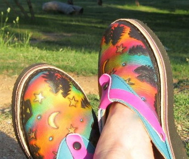 dc0b49bb9abe6 Leather Handmade Custom Sling Back Clogs Shoes - House in the Woods Hand  Painted Landscape,Airbrushed, Custom Made Size 5, 6, 7, 8, 9, 10