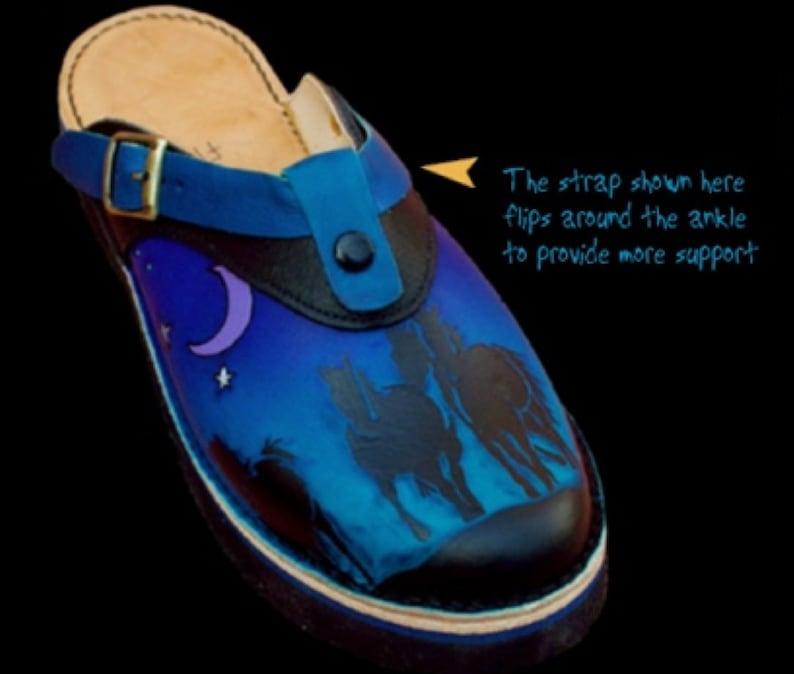 97b758939af1d Handmade Custom Leather Sling Back Clogs Shoes - Galloping Horses & Moon  Blue Purple Black, Custom Made Size 5, 6, 7, 8, 9, 10