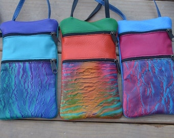 """Handmade Custom Handcrafted Leather Pouch, embossed air brushed. Zipper Tote, 9""""x 5.5""""  Adjustable Strap"""