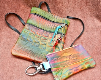 THIS SET. Handmade Custom Leather Pouch and smart PHONE tote, Embossed exotic leathers, 7x9 Zipper Tote Adjustable Strap,2 compartments.