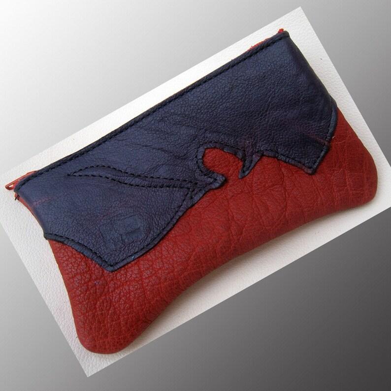 Handmade Leather Raggedy zipper coin purse tote smart phone bag Buffalo on Buffalo