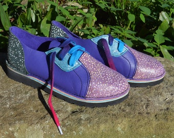 Handmade Custom Leather  Shoes Lo Top - Cowhide Blue's Purple. Embossed Stingray GLITTER.  Custom Made or  Stock Size 5, 6, 7, 8, 9, 10