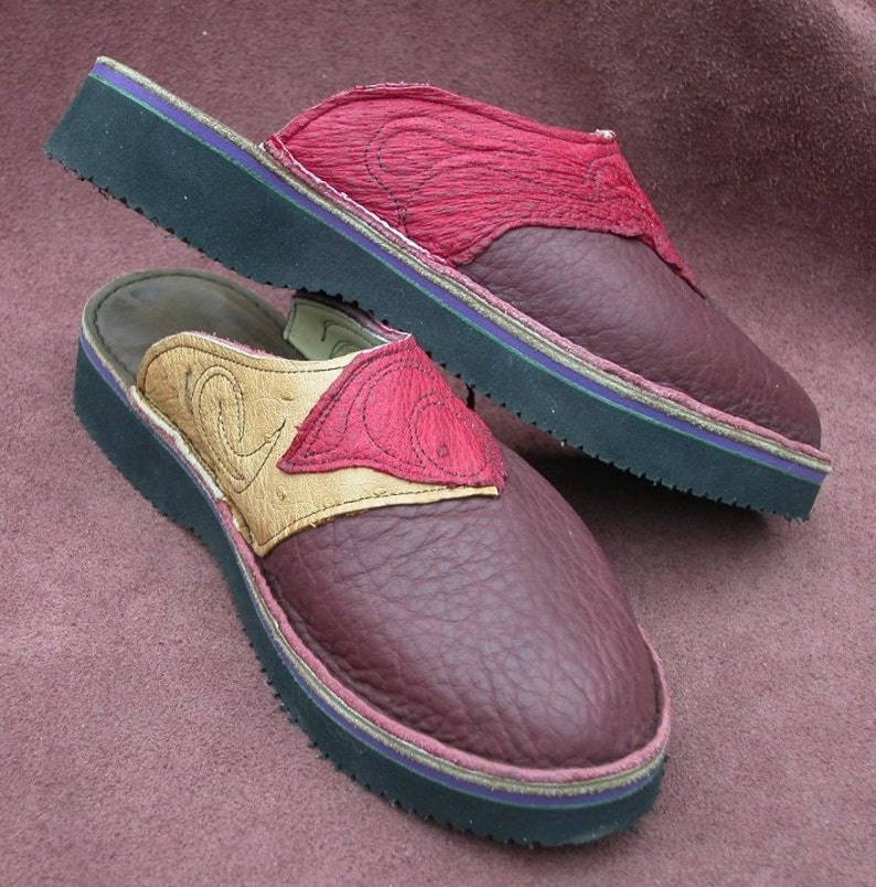c34335818b95c Leather Custom Clogs Handmade Shoes - Redwood buffalo, ostrich leather.  Custom Made