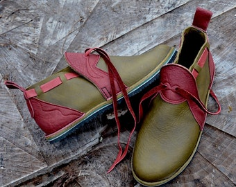 """Leather Custom  Handmade Shoes - olive green waxed cow with redwood buffalo trim """"n0shoes"""" .  - Custom or stock  Size 5-10"""