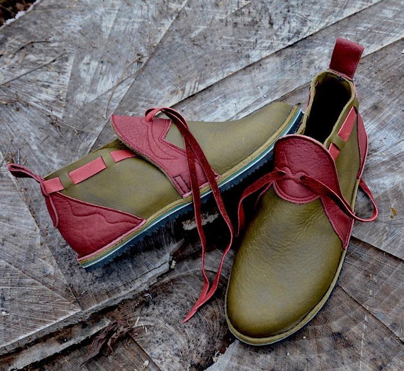 d50ffeba Cuero Custom zapatos hechos a mano verde oliva vaca encerada | Etsy
