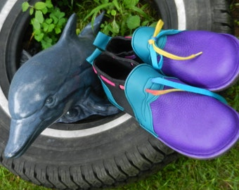 """Handmade Custom Violet and black Leather Shoes -  - """"n0shoes"""" Lightweight Vibram Sole cowhide Trim - Custom Made or, Size 5, 6, 7, 8, 9, 10"""