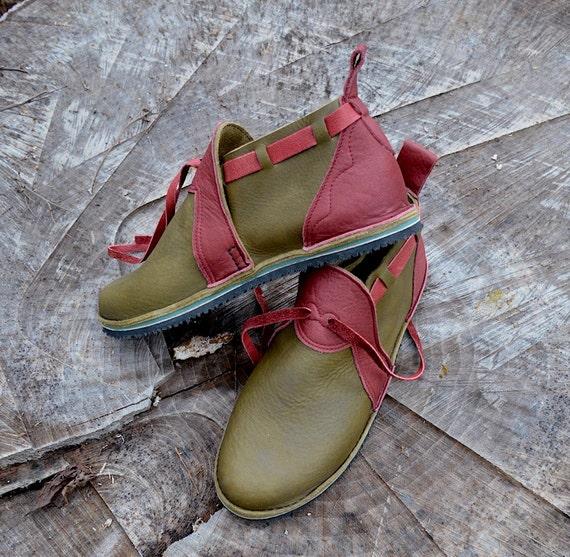 bf75bdf5c6ac9 Leather Custom Handmade Shoes - olive green waxed cow with redwood buffalo  trim