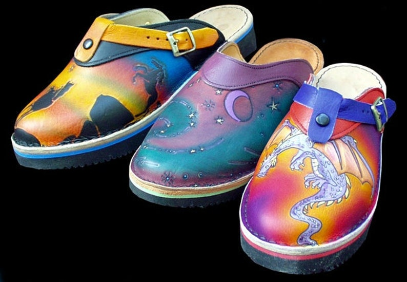45427710c5771 Handmade Custom Leather Sling Back Clogs Shoes - Dragon, Horse or Moon Hand  Painted Airbrushed, stock Size 5- 10 or Custom Made to fit