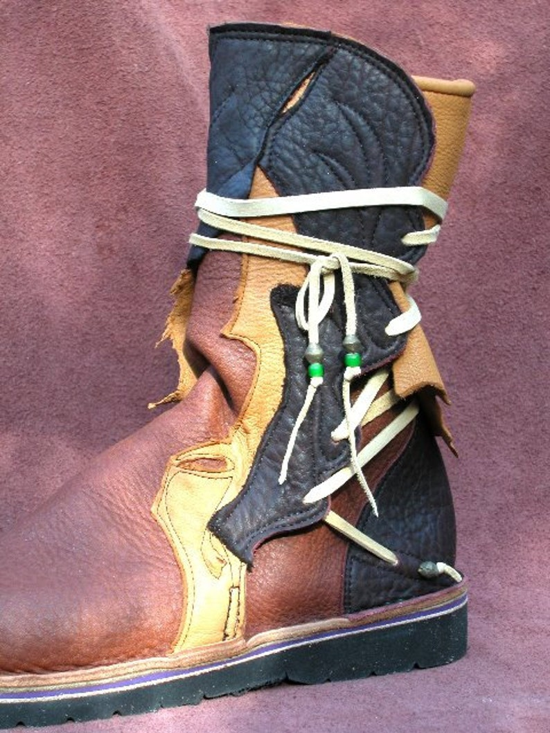 cae503e1c21f8 Leather Custom Boots Handmade Shoes - Black Tan Brown Buffalo Raggedy Hide,  Custom Made Size 5, 6, 7, 8, 9, 10