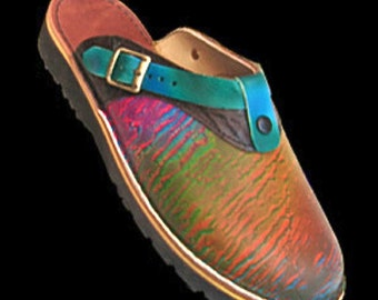 Handmade custom Leather Sling Back Clogs Shoes - Colorful Rainbow Abstract Design Airbrushed, Custom Made Size 5, 6, 7, 8, 9, 10