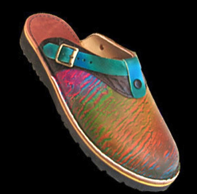 cb7530b016825 Handmade custom Leather Sling Back Clogs Shoes - Colorful Rainbow Abstract  Design Airbrushed, Custom Made Size 5, 6, 7, 8, 9, 10