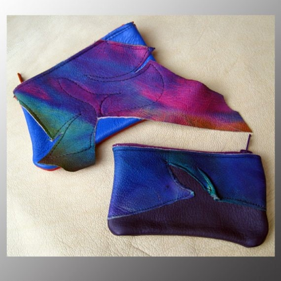 Zipper Coin Change Purse,Cell Phone Bag Rainbow Airbrushed Abstract Raggedy Goat Skin on Cowhide Red Blue Tan Black Handmade Leather Wallet