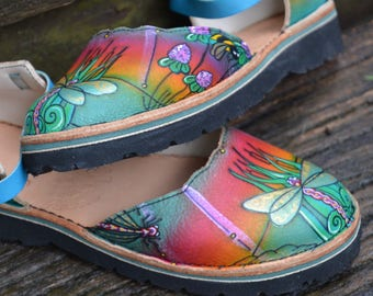 Sandals Custom Leather Handmade Shoes - Cowhide. Dragonflies and bees, Sunrise, rainbow colored. Women's sizes 5,6,7,8,9,10 and custom made.