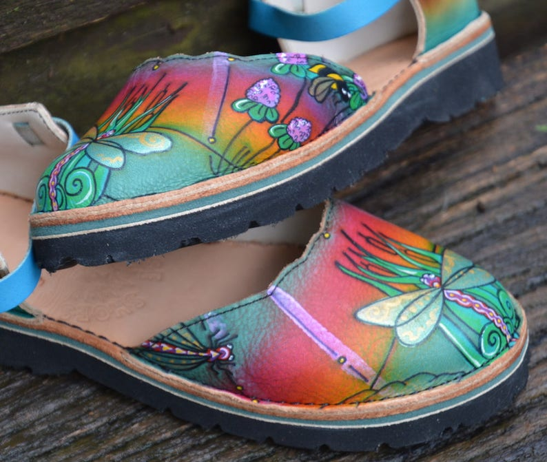 9b889c55ad587 Sandals Custom Leather Handmade Shoes - Cowhide. Dragonflies and bees,  Sunrise, rainbow colored. Women's sizes 5,6,7,8,9,10 and custom made.
