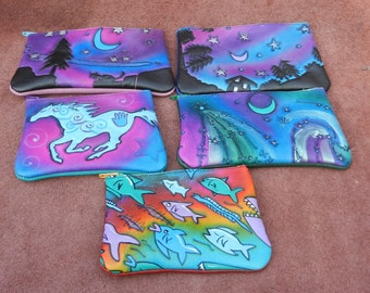 GIFT DEAL,Handmade Custom Leather/ Zipper Coin Change Purse, Bag, Tote.  Cosmic shooting stars, Airbrushed Hand Painted.