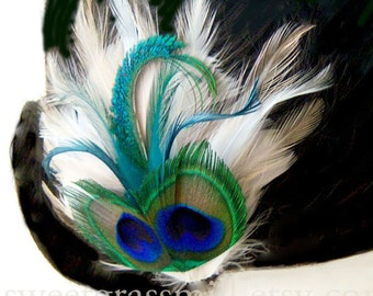 """Bridal Peacock Fascinator """"Bella Fiore"""" Peacock & Ivory, Cream and Champagne Feathers - Choose Headband or Clip"""