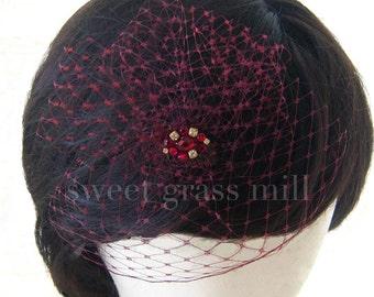 "Veil Fascinator - Dark Red Wine Burgundy Birdcage Jewel Fascinator ""Piccadilly"""