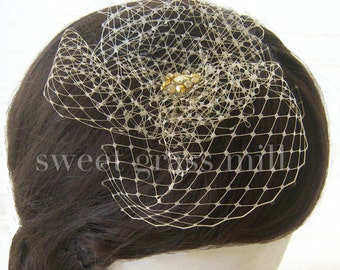 "Veil Fascinator - Champagne or Ivory Birdcage Jewel Fascinator ""Piccadilly"""
