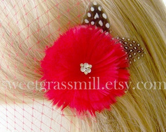 ROUGEBERRY Clip and Mini Red Veil Set - Red Feather Flower Polka Dot Crystals