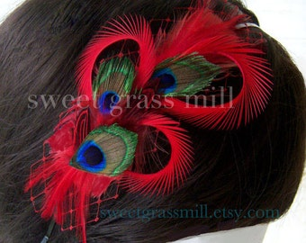 Peacock Headband - BRIAR ROUGE - Peacock and Red Feather Veiling Headband