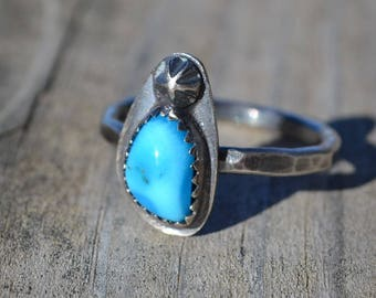 Turquoise Oxidized Sterling Silver Ring Ready to Ship Size 9 1/4