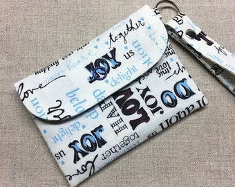 SALE, 15% OFF - Card/Cash/Coin Pouch with a Wristlet, Small zipper pouch, ID card holder with a Back zipper pocket - Multi-word on White