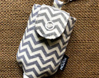 Handmade Fabric Case for a 2 oz. Hand Sanitizer, Cute Small Case to Hold Hand Gel Bottle, Potable Key Chain Hand Gel Case, Chevron Zig Zag