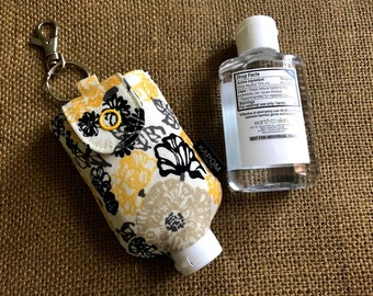 Handmade Fabric Case for a 2 oz. Hand Sanitizer, Cute Small Case to Hold Hand Sanitizer Bottle, Potable Key Chain Hand Gel Case