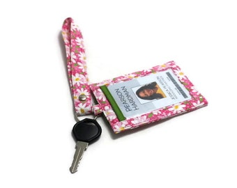 SALE, 20% OFF - Vertical ID Badge Holder with a Snap Closed Back Pocket and a Matching Wristlet, Small White Daisy on Pink - Ready to Ship