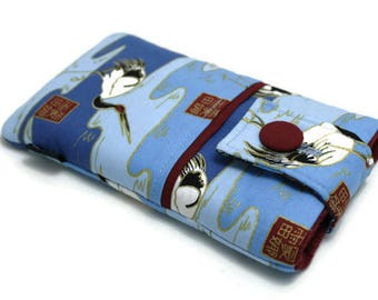 SALE, 30% OFF - Fabric Cell Phone Pouch for iPhone 6+, 6s Plus, iPhone 8 Plus - Japanese Kimono, Oriental Style, Crane on Blue wave