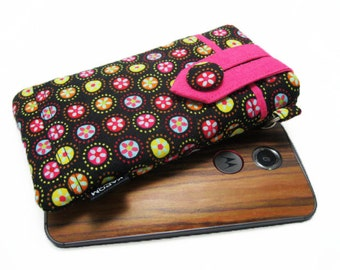 SALE, 40% OFF - Fabric Smartphone Case for iPhone 8, iPhone 7, iPhone 6 and 6s  - Colorful flowers on Black - Ready to Ship