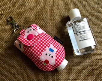 Handmade Fabric Case for a 2 oz. Hand Sanitizer, Cute Small Case to Hold Hand Sanitizer Bottle, Japanese Kawaii Bear
