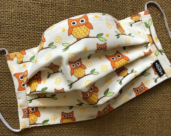 Cute Owls and Birds Handmade Pleated Fabric Face Mask with Nose Wire and a Hidden Slot for Filter Insert, made in USA - Ready to Ship