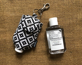 Handmade Fabric Case for a 2 oz. Hand Sanitizer, Cute Small Case to Hold Hand Gel Bottle, Potable Key Chain Hand Gel Case, Black and White