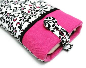 SALE, 20% OFF - Fabric Phone Pouch for iPhone 8, iPhone 7, iPhone 6 and 6s - Mini Black and Pink Flowers on White - Ready to Ship