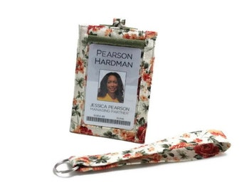 SALE, 20% OFF - Vertical ID Badge Holder with a Snap Closed Back Pocket and a Matching Wristlet - Tossed Roses - Ready to ship