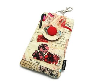 SALE, 70% OFF - Vintage Valentine Postcards, My funny Valentine Fabric Phone Pouch for iPhone SE, iPhone 5 and 5s, Button Closure