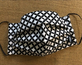 Black and White Pleated Fabric Face Mask with Nose Wire and a Hidden Slot for Filter Insert, made in USA
