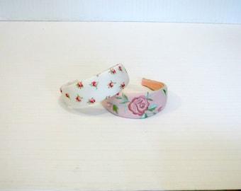 Vintage Romantic Pink Rose Floral Wide Headbands Set of 2