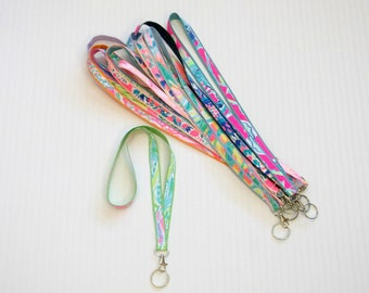 Preppy Lilly Pulitzer Fabric Ribbon Lanyard in Many Prints