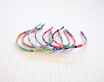 Preppy Set of 6 Teeny Lilly Colorful Fabric Headbands - Set 2