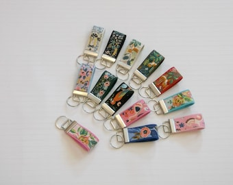 Boho Floral Rifle Paper Co Mini Key Fob Keychain in 13 Colors