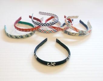 "Preppy 1/2"" Nautical Lobster Anchor Plaid Headband in 8 Prints"