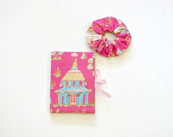 Pink Asian Chinoiserie Journal Scrunchie Set 2pc
