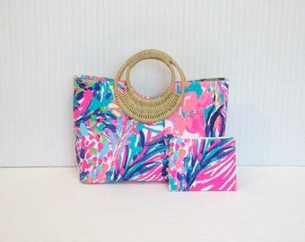 Preppy Tropical Lilly Pulitzer Gumbo Limbo Fabric Handbag Tote