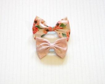 Preppy Boho Pink Floral Brocade Fabric Hair Bow Set 2pc