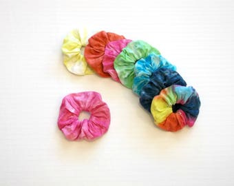 Boho Festival Tie Dye Ombre Rainbow Knit Scrunchie Scrunchy 7 Colors