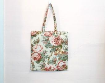 Shabby Boho Vintage Linen Roses Shopping Tote Book Beach Bag